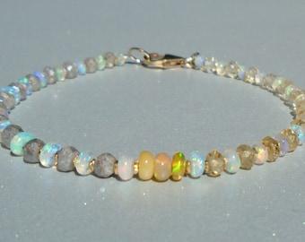 Opal Bracelet, Ethiopian Opal Bracelet, Citrine Bracelet, Labradorite Bracelet, November Birthstone, Ombre Bracelet, Dainty Bracelet