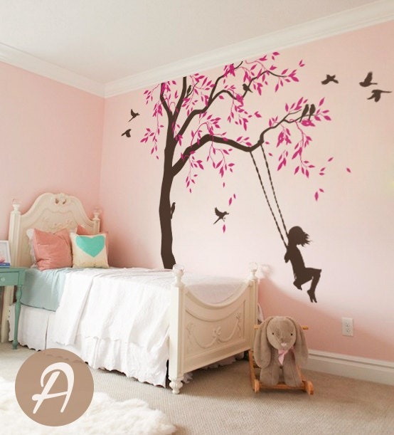 sticker arbre avec balan oires et oiseaux p pini re grand. Black Bedroom Furniture Sets. Home Design Ideas