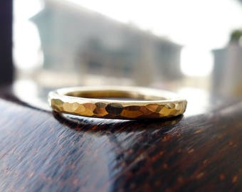 Man In Gold. Affordable 9K Yellow Gold Hammered Textured Wedding Ring. Classic Hand Made Recycled 9K Gold Band. Rustic Thick Man Ring.