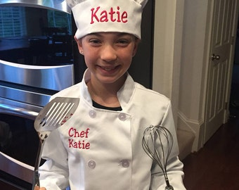 Child's Long Sleeve Chef Jacket and Hat Personalized,  Chef Jacket and Hat for Children, Master Chef Jacket and Chef Hat for Children