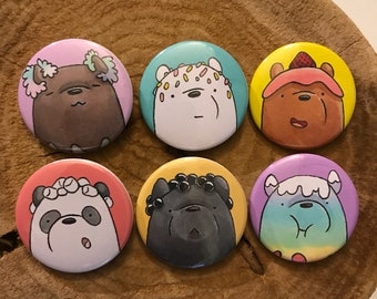 Ice Cream Bear Popsicles Pinback Buttons or Magnets