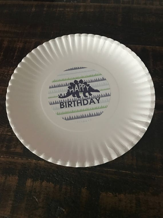Happy Birthday Dinosaur Plate Sticker Downloadable