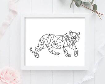 Tiger Art Print - Geometric Tiger - Tiger Art - Instant Download - Digital Art Print - Tiger Wall Art - Tiger Decor - Modern Tiger Print