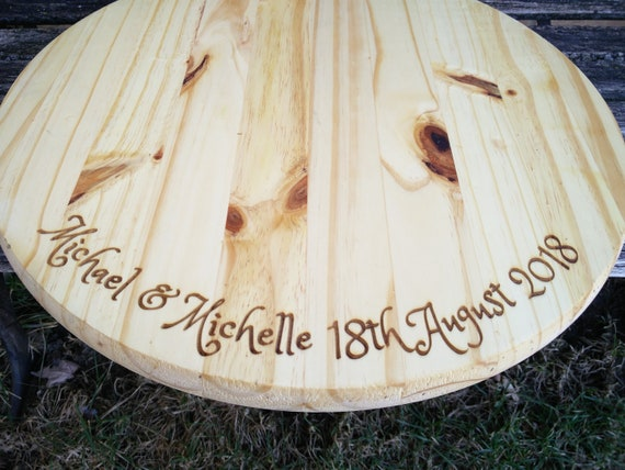 Custom Engraved Cake Stand. 18 Inch Wood Round. Wedding, Shower, Anniversary, Birthday, Graduation, Christmas, Mother's Day. Personalized