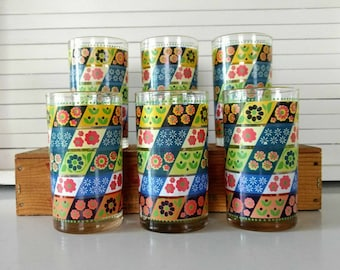 Set of 6 Calico Garden Libbey Glassware Tumblers Retro Mid Century Home Decor Cocktail Barware Glasses Floral Yellow Blue Red Water Glasses