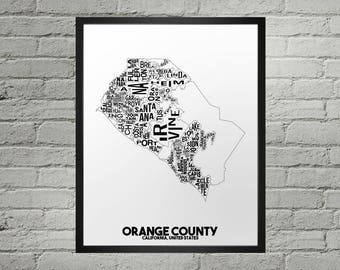 Orange County California Neighborhood Typography City Map Print