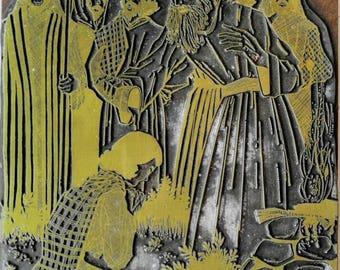 SALE! RARE Large Vintage Letter Press Printing Block-Jesus-Apostles-Mary Magdalene-Bible Series-Lot-IPEU-Wood/Metal