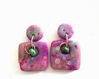 Faux opal small square polymer clay dangle earrings with turquoise beads
