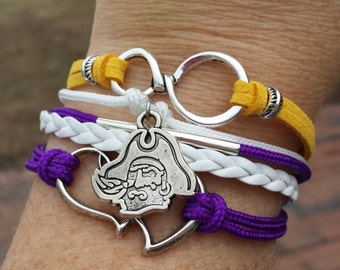 ECU East Carolina Pirate College Multistrand Friendship Infinity Heart Charm Bracelet Sports Football Team