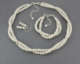 Bridal Jewelry Set Ivory Pearl Multi Strand Necklace Twisted Necklace Double Strand Necklace Bracelet Earrings Set Ivory Pearl Necklace