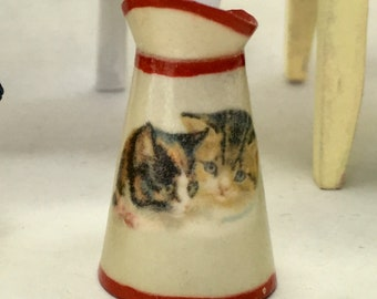 1:12 Mini Pitcher - Vintage Cuddly Kitten China Design - Handmade Scale Miniature - Shabby Cottage Chic  ***Free Shipping***