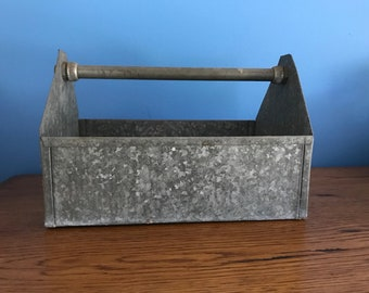Vintage Handmade Galvanized Metal Tool Caddy