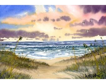 Ocean painting sea oats original Watercolor seascape painting ocean beach sunset waterpink peach   7x10 on paper