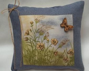 Flower Field Mini Pillow With Butterfly Spring Summer Shelf Pillow