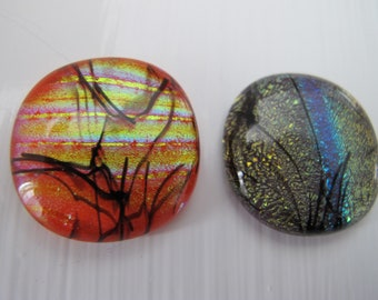 Two Orange/Red and Purple, Uncalibrated, Dichroic glass cabochons