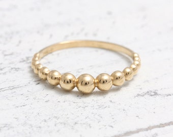 Solid Gold Bubbles Ball Beads Band Stacking Ring