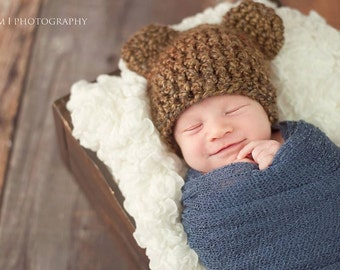Woodland Bear Beanie- Newborn Photo Prop, bear hat, newborn bear prop, baby bear hat, bear costume, newborn bear costume
