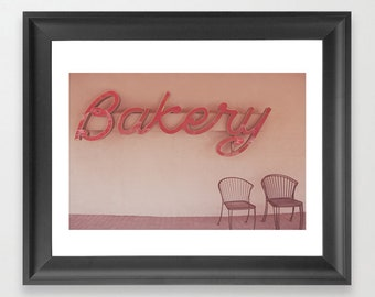 Bakery Sign - Red Vintage Bakery Sign Photograph, Farmhouse
