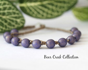 Purple, Boho Bead Bracelet, Elderberry, Grape, Round Glass Beads, Stacking, Layering, Crochet Jewelry, Boho Style, Bohemian, Cord Bracelet