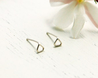 Stud earrings, Triangle earrings, Gold Geometric stud Earrings, tiny stud earrings, triangle post earrings, tiny studs, everyday