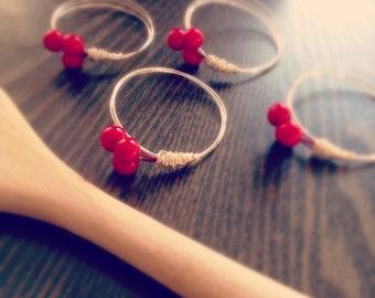Elegant Cherry Napkin Rings - Set of 4 - Handmade
