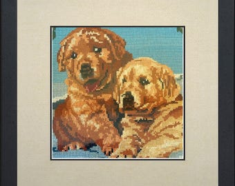 Silk painting of dogs