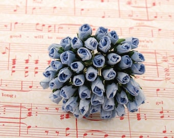 Blue Mulberry Paper Rose Buds Bud006
