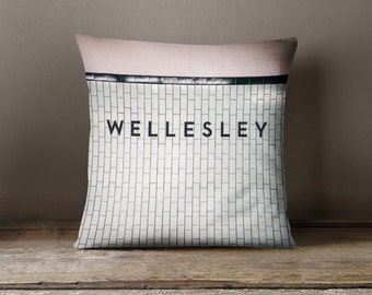 Toronto Subway Wellesley Station Pillow - Made in Canada Mint Home Decor, Subway Retro Home Decor - 16x16 or 20x20 Decorative Throw Pillow