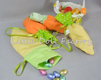 Easter gift bags - Carrots, Drawstring Jelly Bean Bags, Easter Candy bag, Fabric gift bags