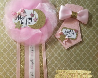 Twinkle Twinkle Little Star Baby Shower Corsage/ Twinkle Twinkle Little Star Theme/ Twinkle Twinkle Mommy To Be Pin/ Daddy To Be Pin