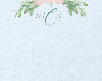 Floral Watercolor Personalized Printable Note Cards