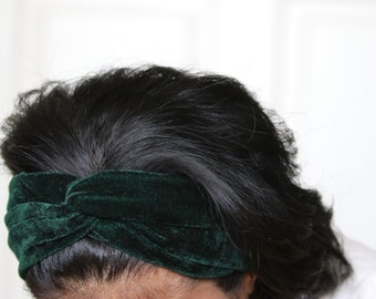 Twisted Green Headbands For Women, Stretchy Headbands, Bohemian Headband, Green Headband, Hippie Headband, Haarband, Gift For Her, Bandana