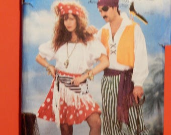Butterick 6731 Mens' and womens' pirate costume patterns  Halloween Cosplay Uncut Sizes extra small, small, medium and large