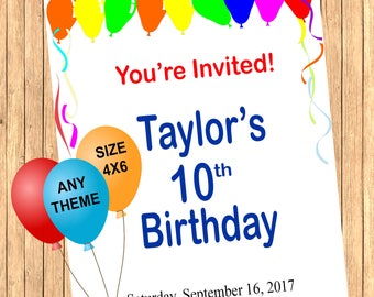 DIGITAL File Only - Custom Invitations- Custom Birthday Invitations- Personalized Invitations for any Occasion!- ANY THEME Could Be Done!