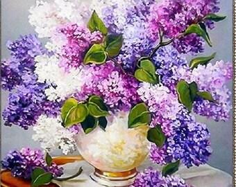 DIY Diamond Painting of Lavender Vase