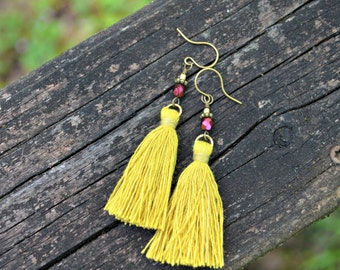 Yellow Tassel Earrings with Cranberry Red Czech Glass Beads colorful boho chic handmade earrings