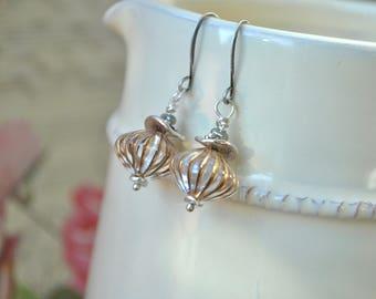 Retro Earrings, Lantern Earrings, Clear Drop Earrings, Unusual Earrings, Vintage Style Jewelry, Circus Earrings, Striped Dangle Earrings UK