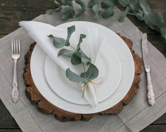 White cloth napkins, Hemstitch napkins set of 6, White linen napkins, Fabric napkins for farmhouse table, Rustic home decor