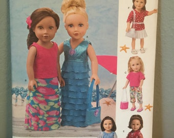 Simplicity Pattern 1178 OS Craft Pattern for 18 inch doll clothes dress skirt bag pants top shorts scarf belt