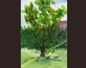 Download -Tree - watercolour