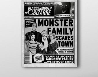 The Munsters Inspired Mock Magazine Cover Art Print