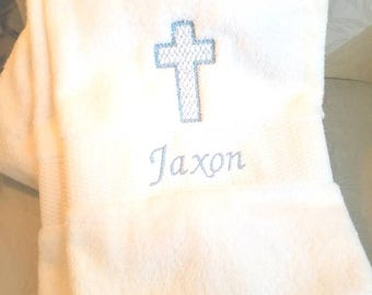 Personalized Baptism Towel for Greek Orthodox Baptism, Bath Towel, Embroidered