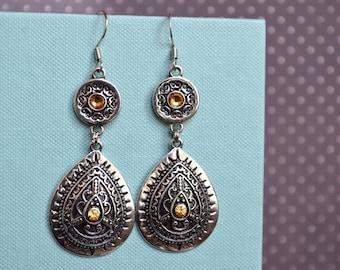 Dangle metal tribal style earrings, long silver metal earrings, bohemian earrings, gift for her, earrings under 15 dollar, gypsy earrings.
