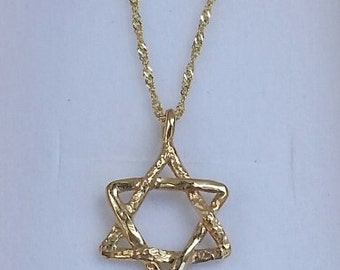 Star Of David Gold Pendant,14K Yellow Gold Star Pendant , Handmade Gold Jewish Star, Jewish Star Pendant ,Hanukkah Gift ,Mother's Day
