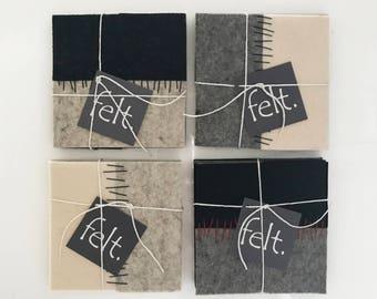 Wool Felt Coasters - Hand stitched