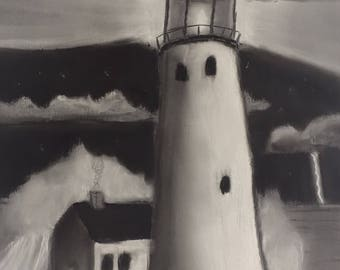 The Lighthouse- Original charcoal drawing