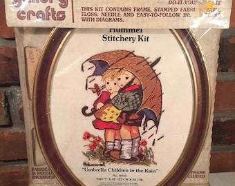 70s Gallery Crafts Hummel Embroidery Stitchery Umbrella Children in Rain - Free Shipping