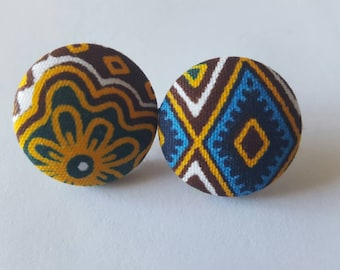 Large gray and brown button Ankara earrings