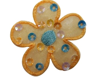 ID 6073 Sequin Yellow Daisy Patch Spotted Flower Embroidered Iron On Applique