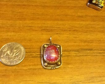 Dichroic glass and sterling silver .925 pendant